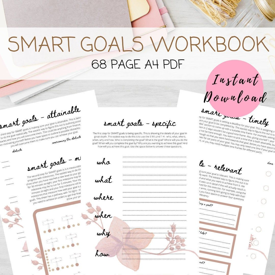 SMART goal workbook, goal tracker printable, goal planning