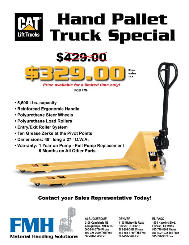 CAT Hand Pallet Truck Special | Forklifts Specials 800 451