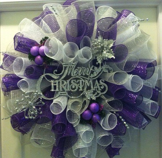 Christmas Wreath Purple White And Silver By Crochetbyfrances Christmas Wreaths Purple Christmas Wreath Purple Christmas Tree