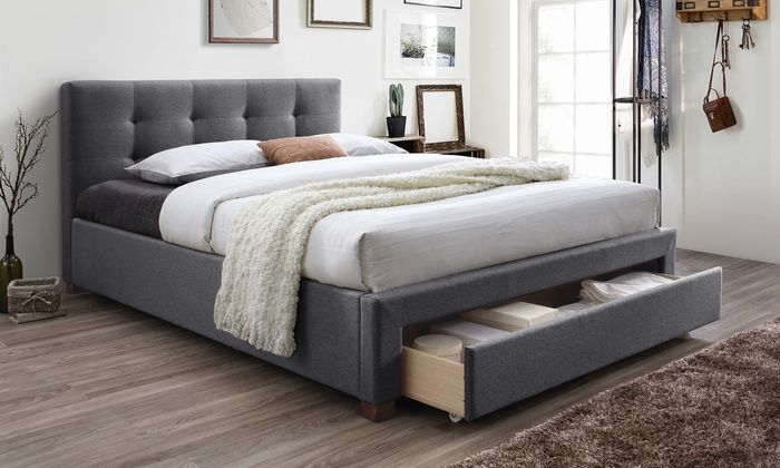 Brandy Grey Fabric Upholstered King Size Storage Platform Bed Bed Frame And Headboard Small Bedroom Storage Small Bedroom