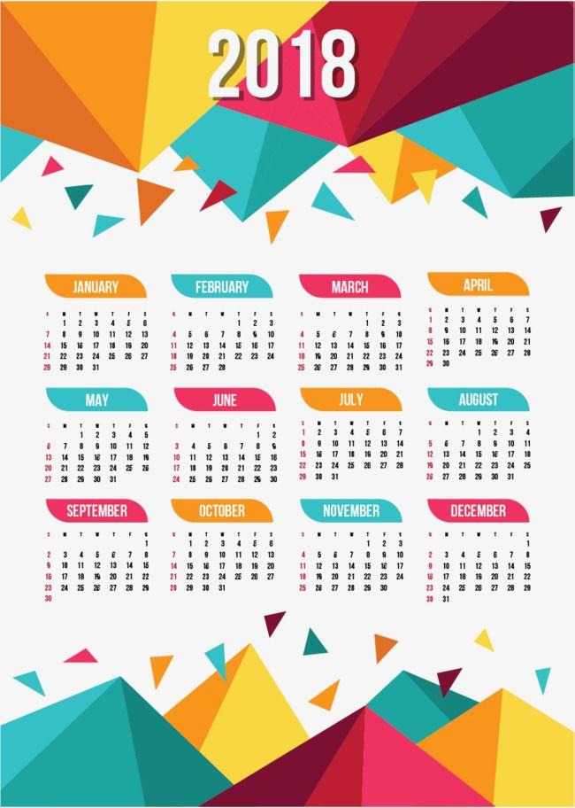 Plantillas de calendario 2018, Calendario, Una Sola Pagina De ...
