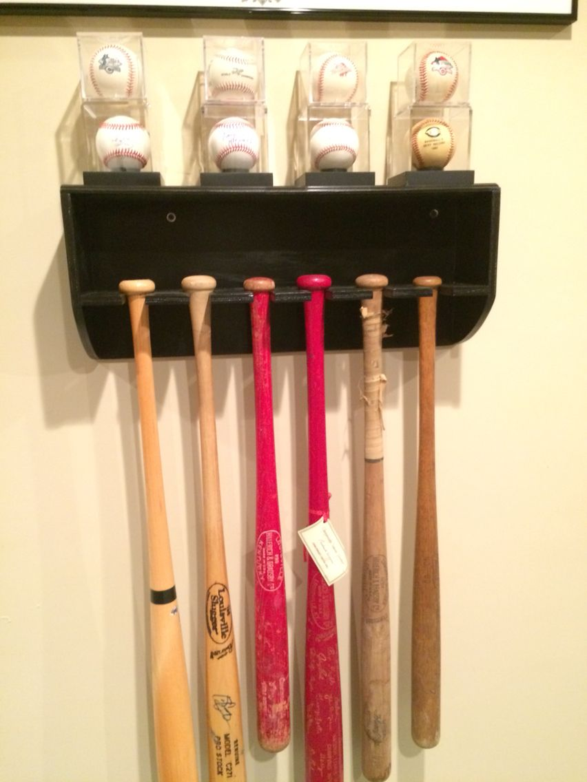 Homemade Bat Rack With Baseball Display Shelf Front View