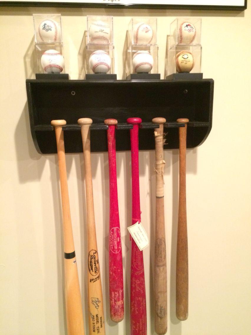 decorative oak wall shelf with baseball bat rack display 5 bats