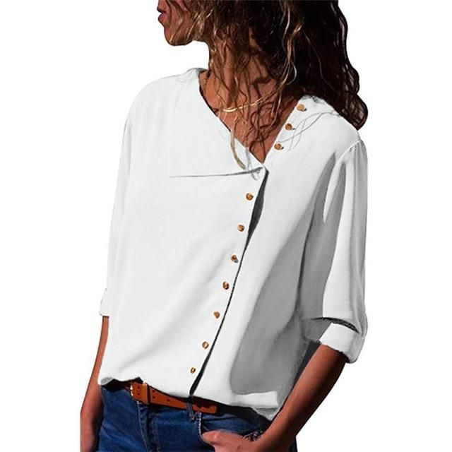 Women/'s Lapel Button V-Neck Short Sleeve Blouse Tops Loose T-Shirt Tee Solid
