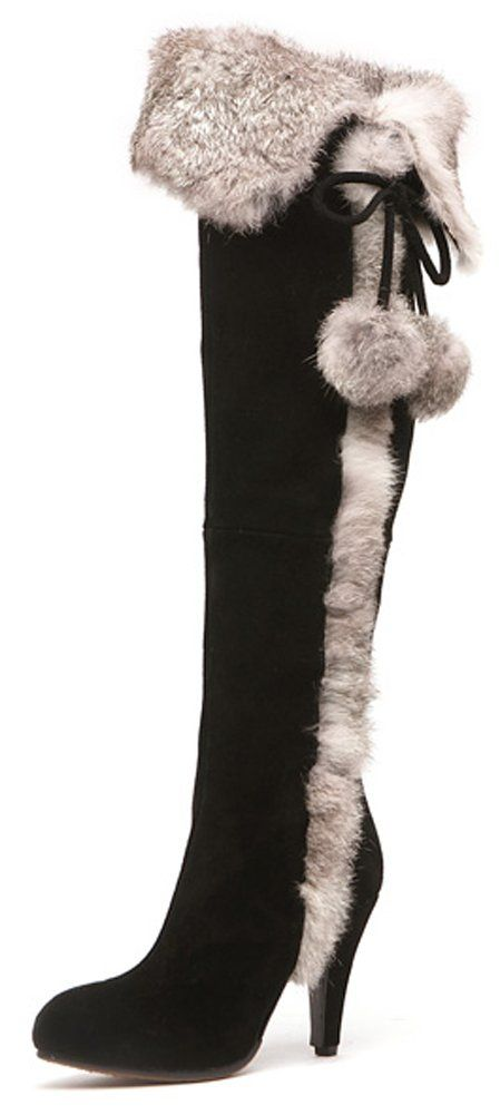 Aphnus Leather Shearling Snow Boots Over Knee Boots