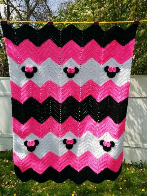 Minnie Mouse or Mickey Mouse Inspired Blanket 32x38 inches chevron ...