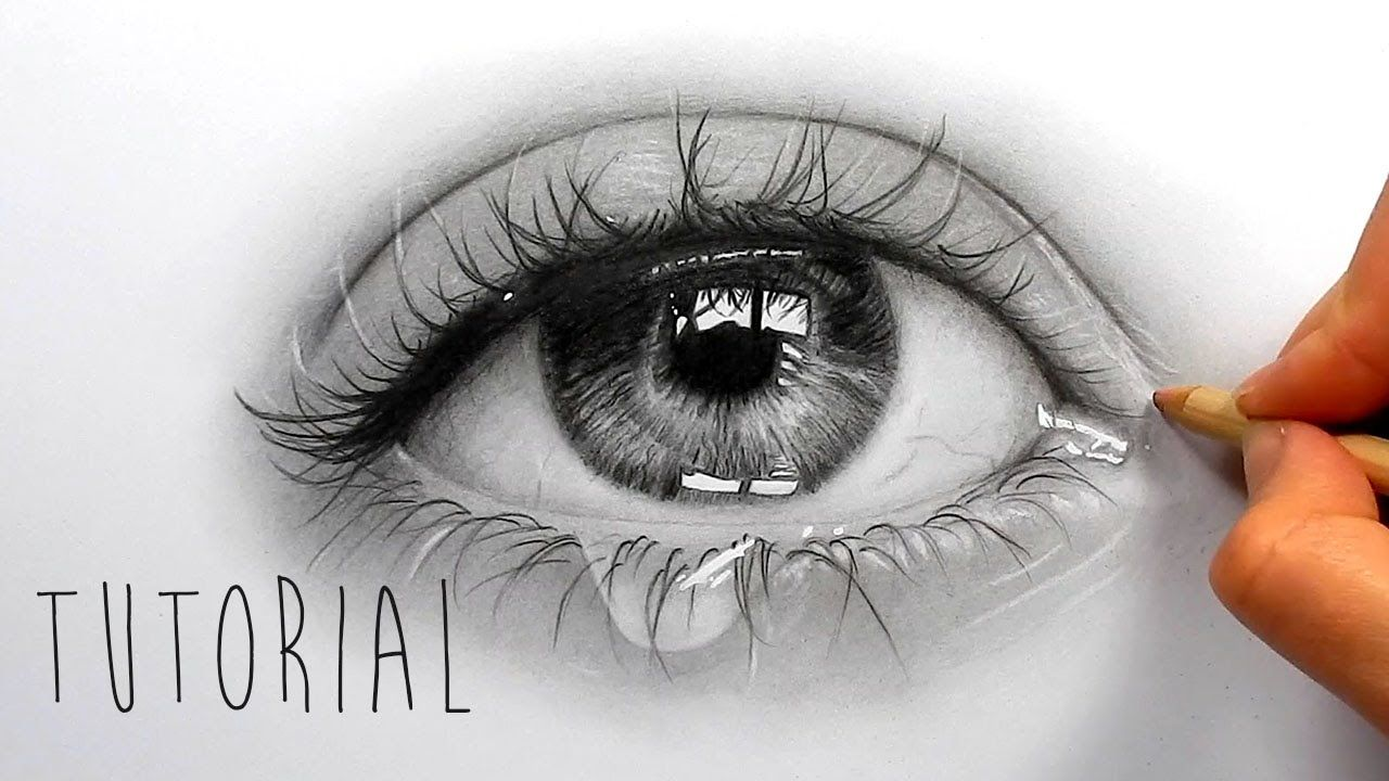 Tutorial  How To Draw, Shade A Realistic Eye With Teardrop  Step By St