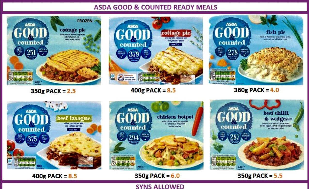 Asda Good Counted Ready Meals Asda Slimming World