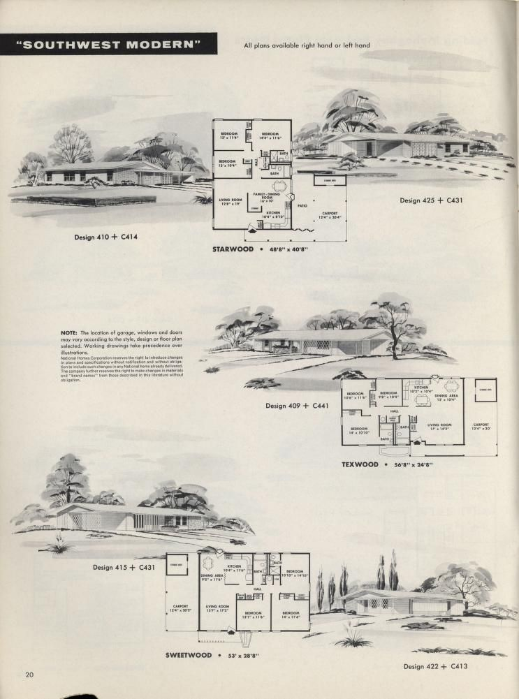 New 1958 National Homes Component Houses Vintage Architecture