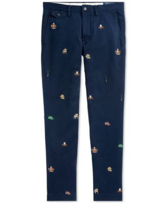 31d9dcd6a3c4 Polo Ralph Lauren Men s Slim Fit Embroidered Chino Pants - Aviator Navy W  Rowing  Emb 40x32