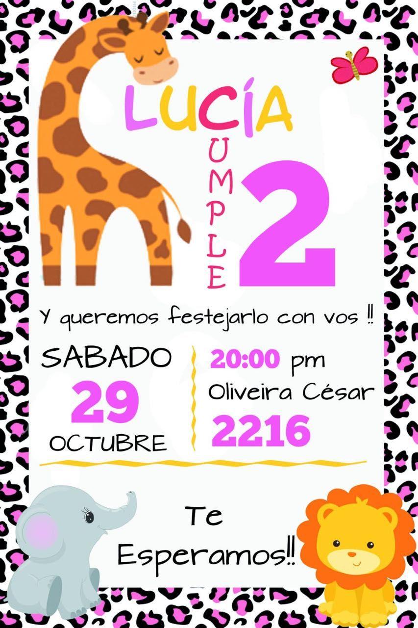 Cumpleaños Safari Tarjeta Invitacion Diseño Original