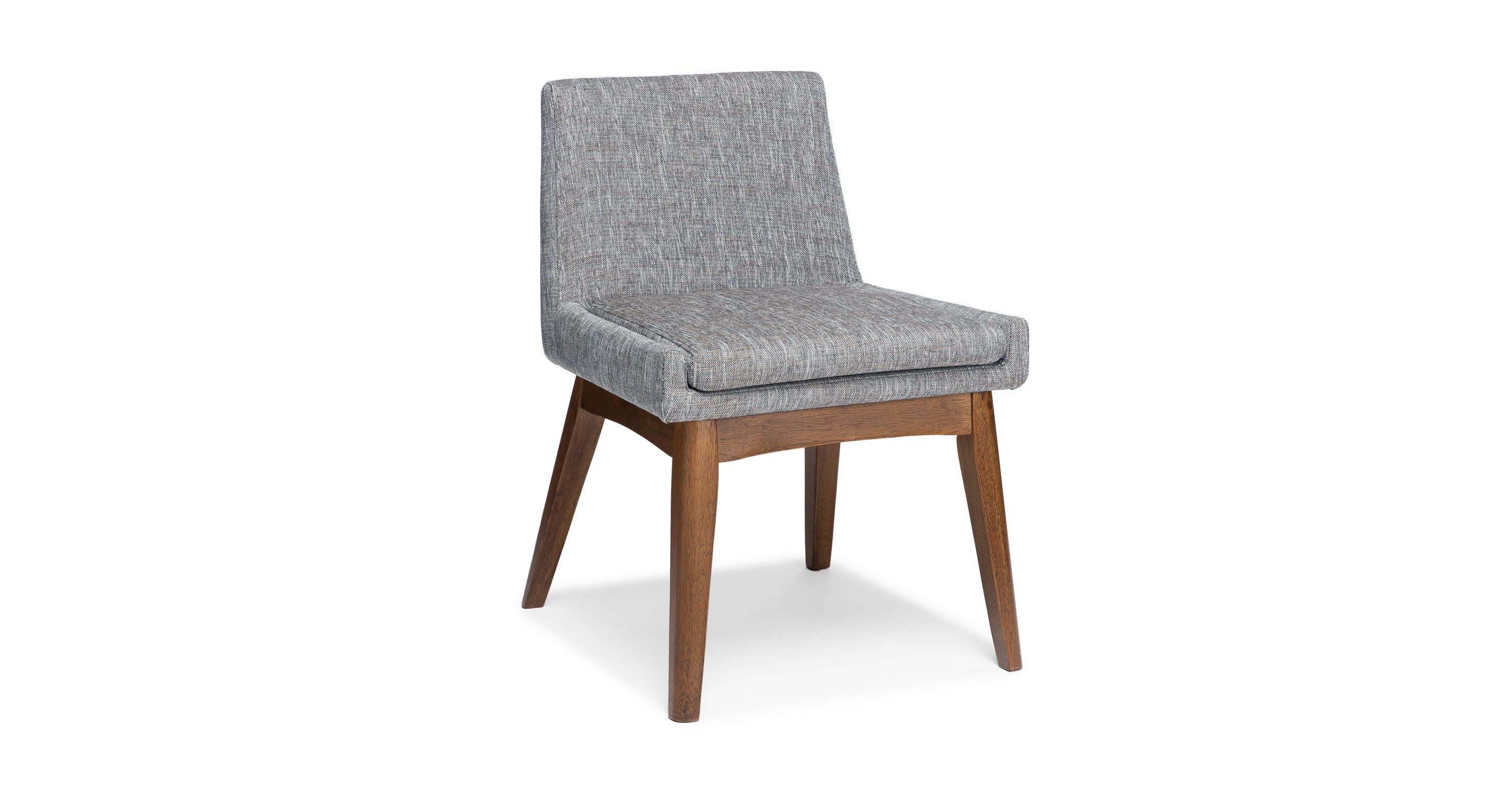 2x Gray Dining Chair in Brown Wood Upholstered