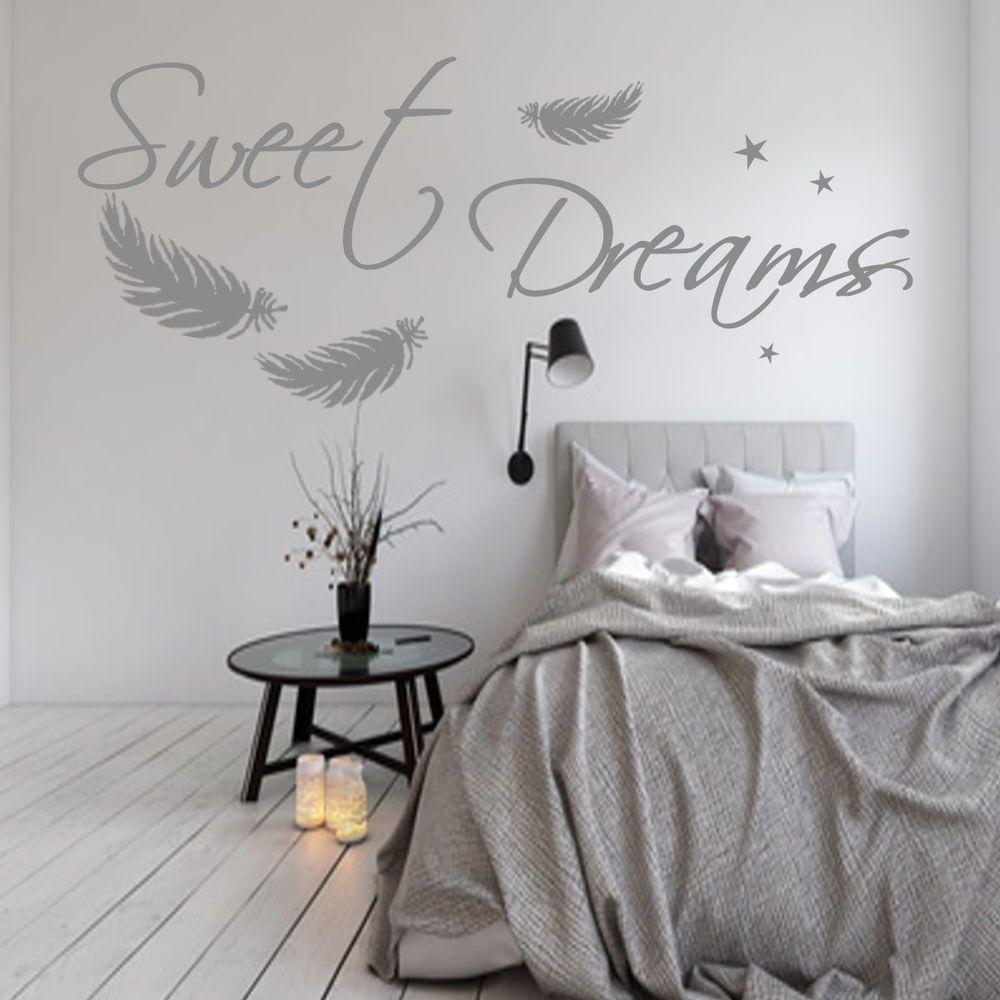 Wandtattoo Aa092 Sweet Dreams Federn Schlafzimmer Wandaufkleber Spruch Ebay Wandtattoos Schlafzimmer Wandtattoo Schlafzimmer Zimmer