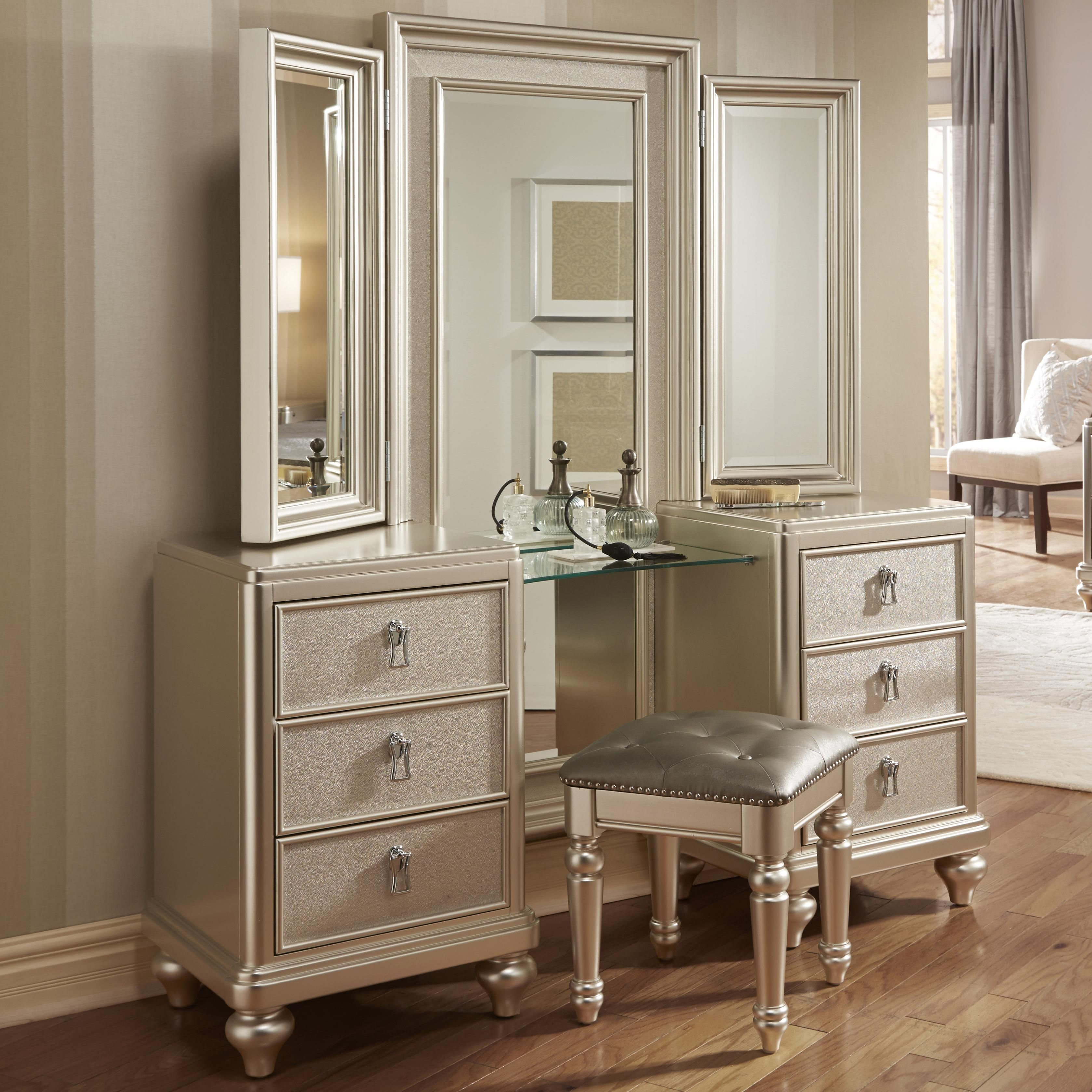 South Beach Vanity Dresser Tri View Mirror Combo W Stool By Samuel Lawrence At Morris Home Mirrored Bedroom Furniture Diva Bedroom Mirror Stool