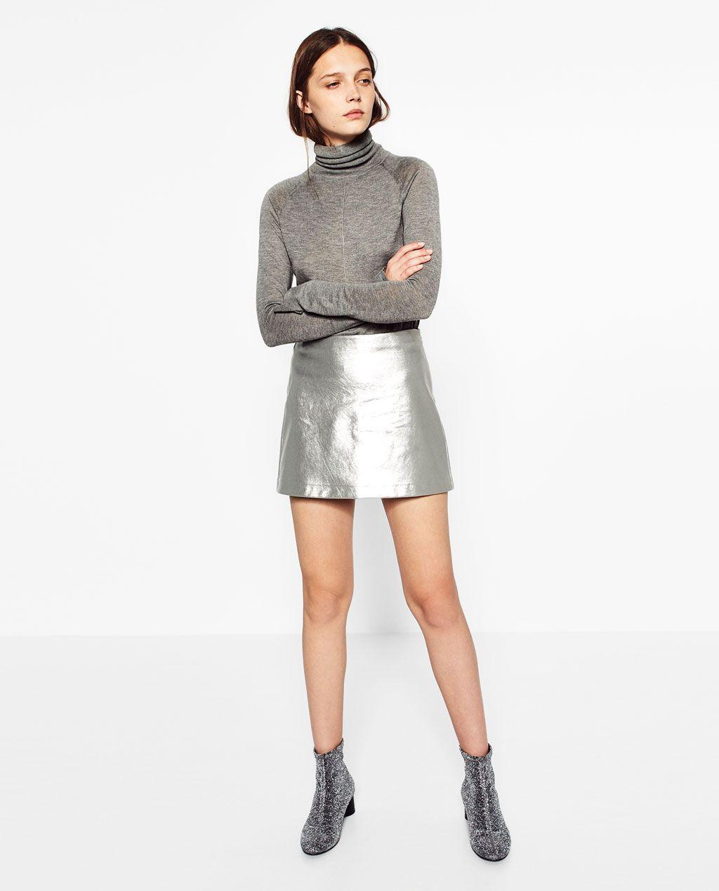 7a074de422 SHORT METALLIC SKIRT-Mini-SKIRTS-WOMAN | ZARA United States | Style ...