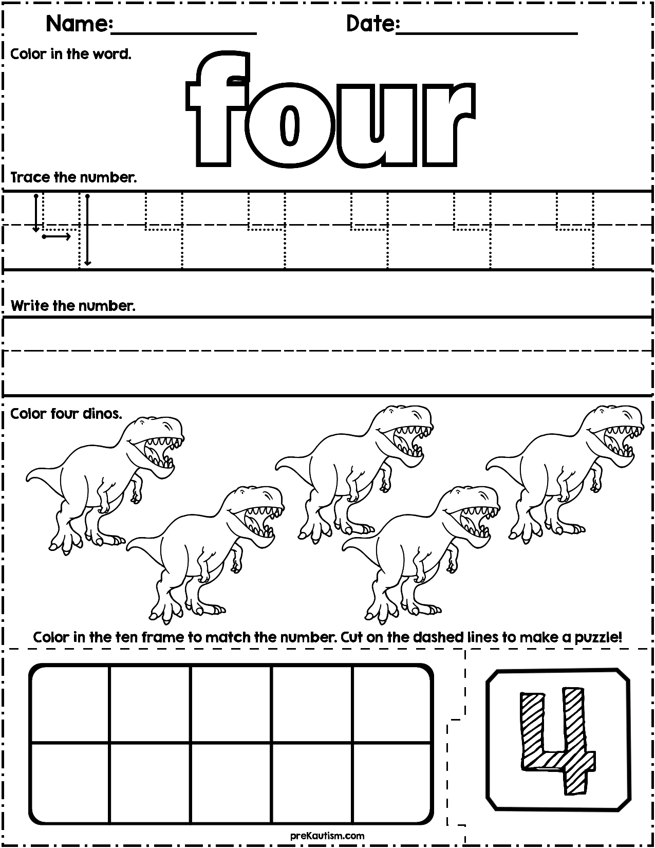 Dinosaur Count Amp Write Math Worksheets