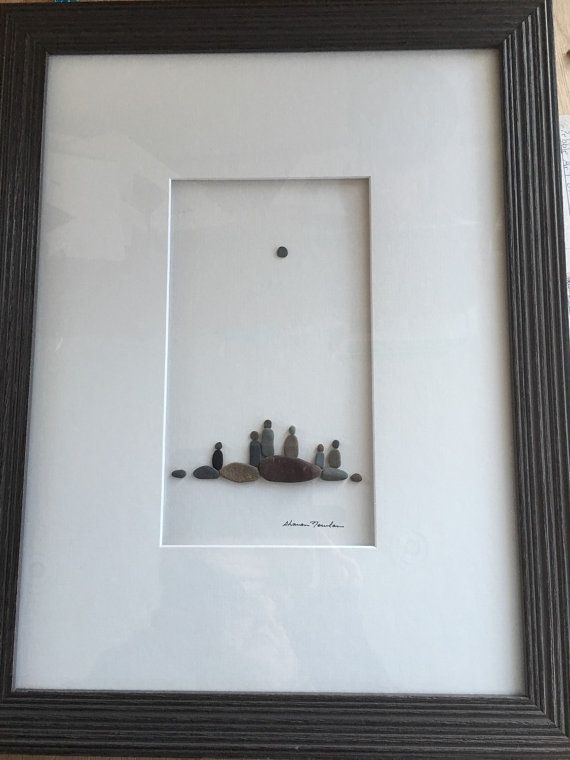 12 By 16 Framed Pebble Art Family Of Six By Pebbleart On Etsy