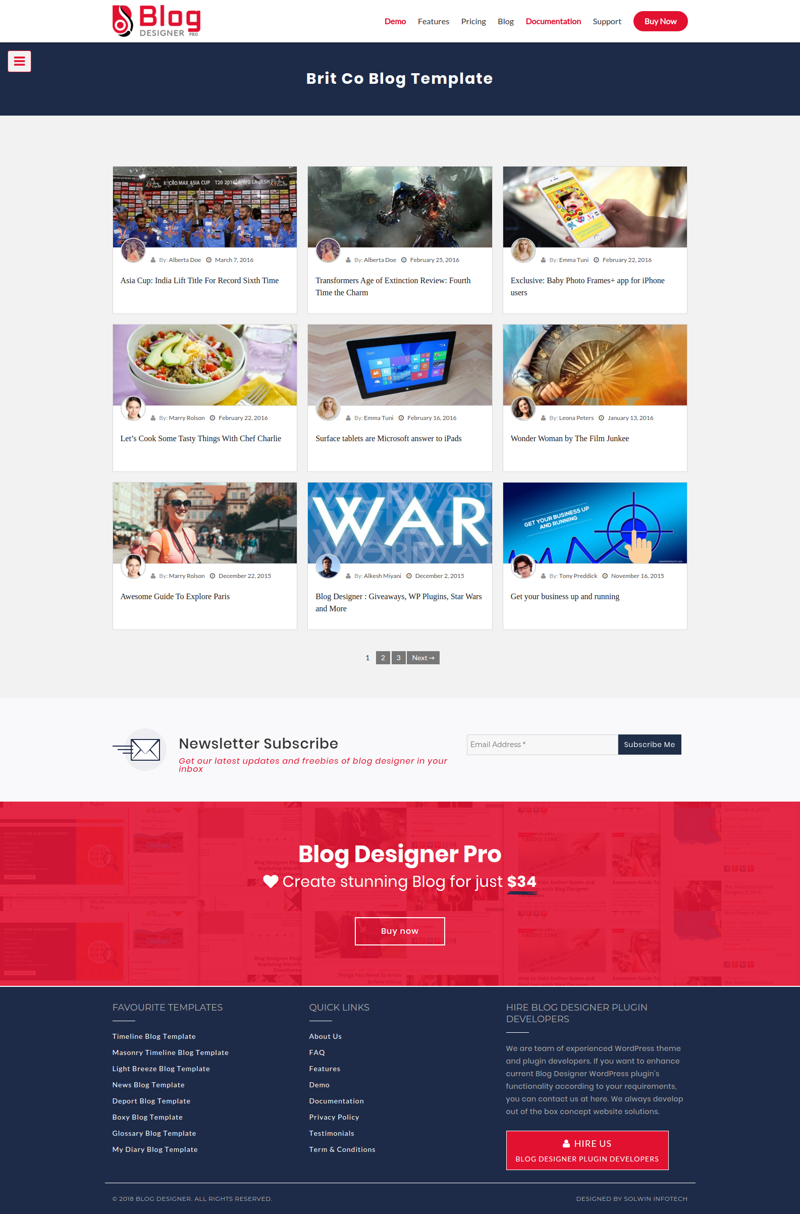 Brit Co Blog Template - Blog Designer - WordPress Plugin