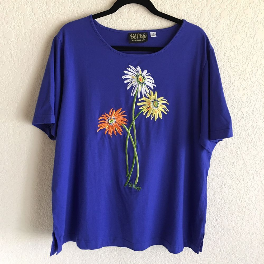 f483c86859f6d Bob Mackie Womens 1X Blue Floral Embroidered Knit T-Shirt Top Daisy Wearable  Art  Mackie  KnitTop  Casual