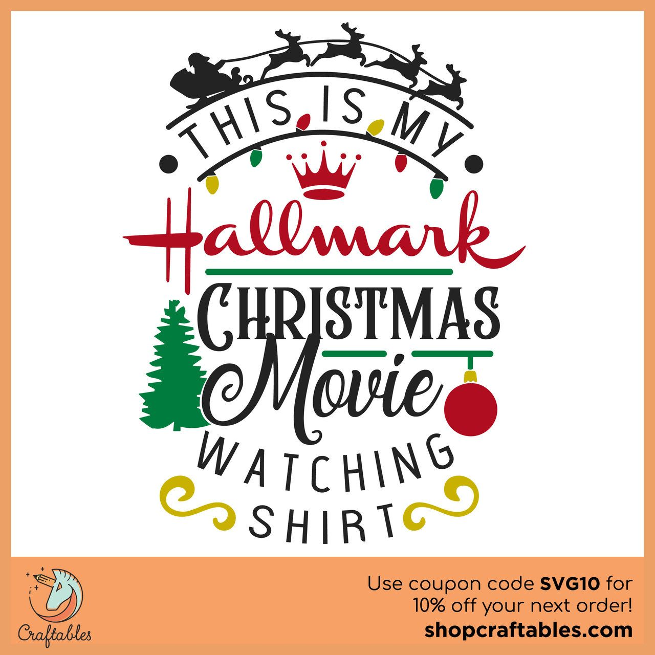 Free This Is My Hallmark Christmas Movie-Watching Shirt SVG Cut File #cricutvinylprojects