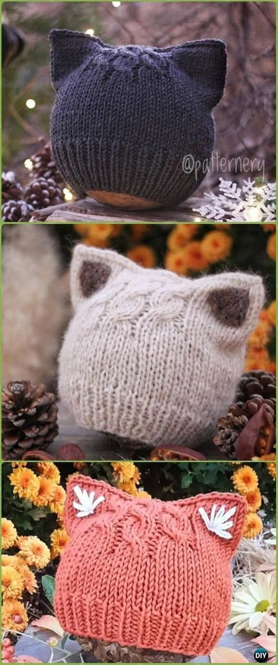 Kitty Cat Hat Knitting Patterns Size Baby to Adult Free #knit