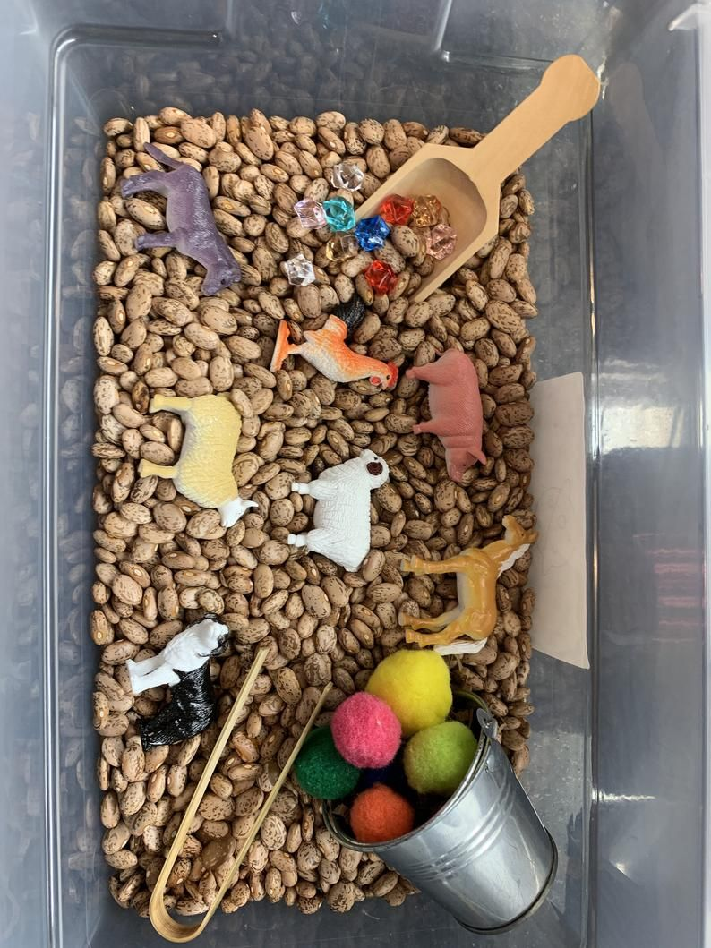 Farm sensory bin sensory box montessoriinspired toys