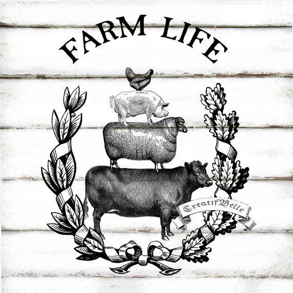 Vintage Farm Animals Wreath Large A4 Black And By Creatifbelle Farm Art Farm Logo Vintage Farm