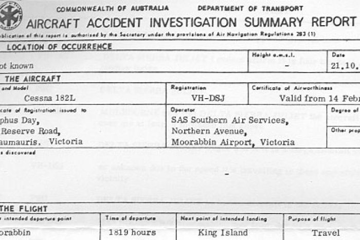 Part of the aircraft accident investigation report Australia - accident report template