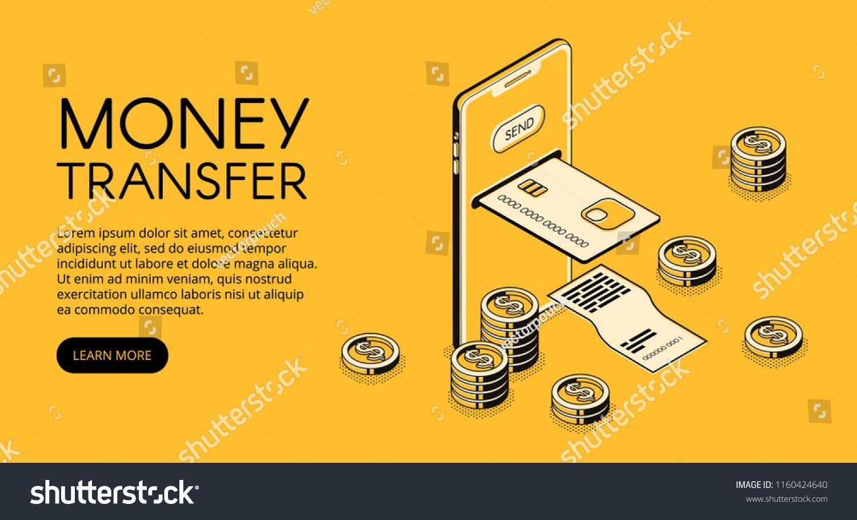 Money Transfer Mobile Phone Technology Vector Illustration Of
