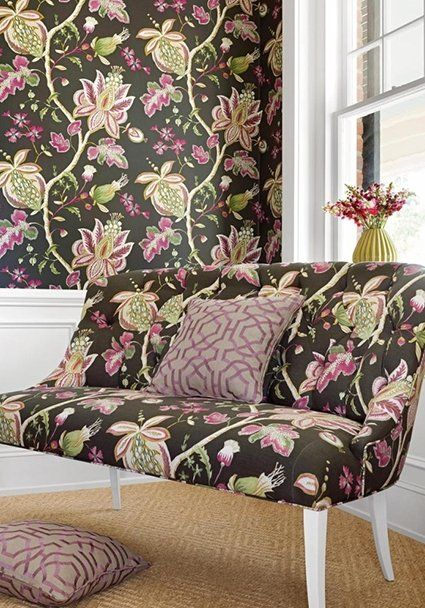Donegal Fabric  A floral curtain fabric printed with flowing branches of thistles, buds and foliage in purple and green on a mocha ground.