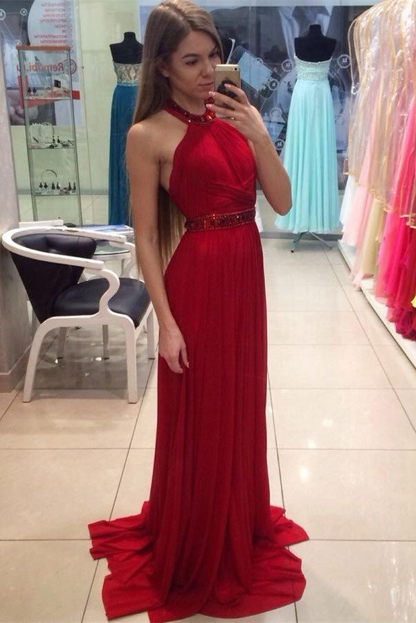 Prom Dress Redlong Prom Dressprom Dress Halterprom Gowncelibrity