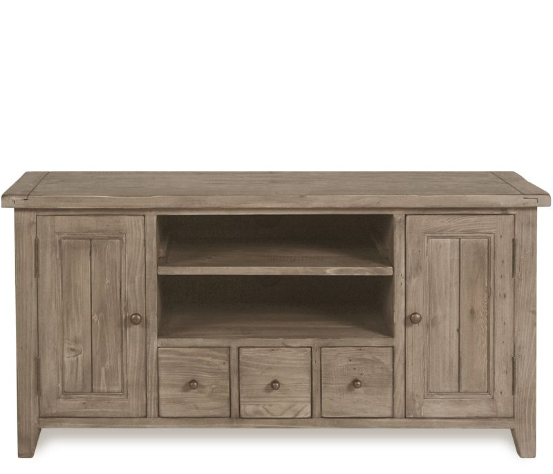 Hugo Small TV Console - Constructed of reclaimed pine, the Hugo is hand finished and features jigsaw construction made popular in 18th century Ireland, creating a genuine rustic