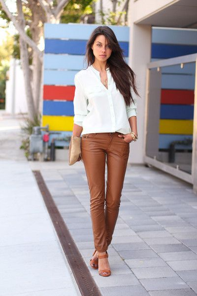 993b07bf93 Goodnight Macaroon Brown Faux Leather Skinny Leather Pants Trousers as seen  on Vivialuxury