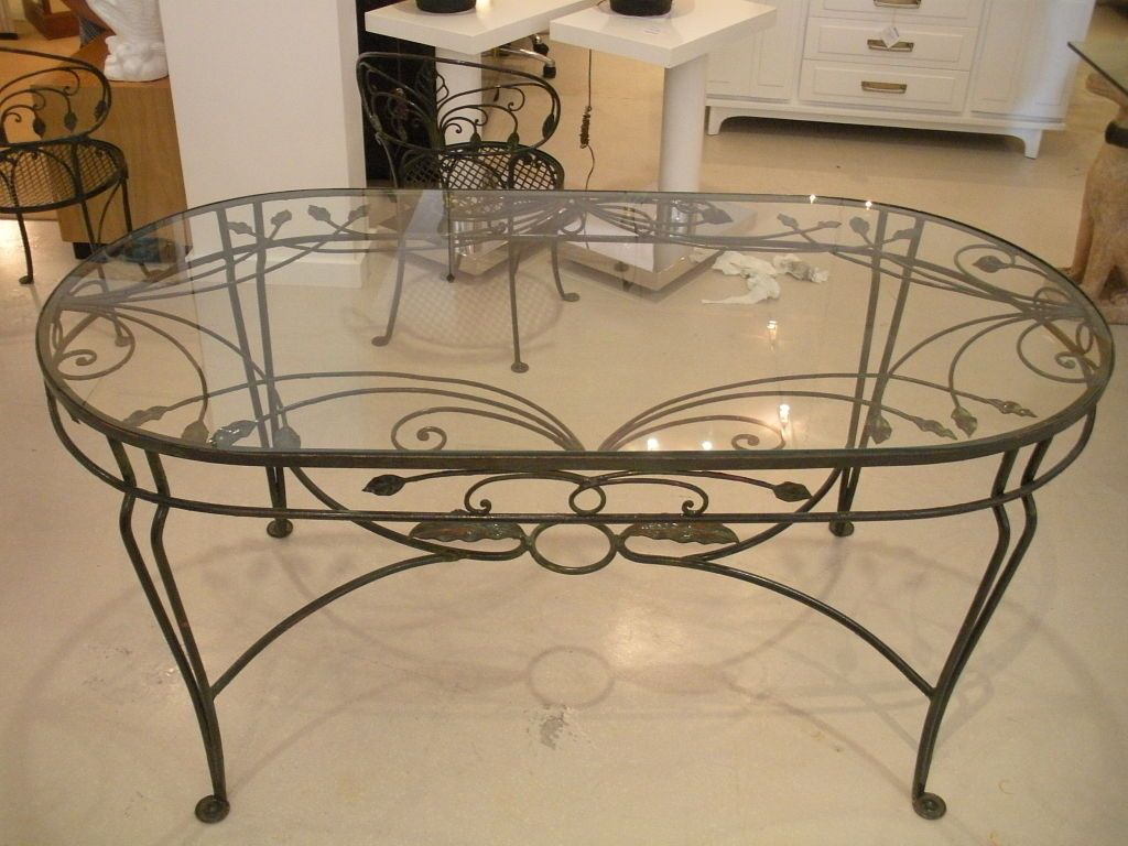 Vintage Salterini Wrought Iron Dining Table And Chairs At 1stdibs Oval Glass Coffee Table Wrought Iron Dining Table Wrought Iron Table