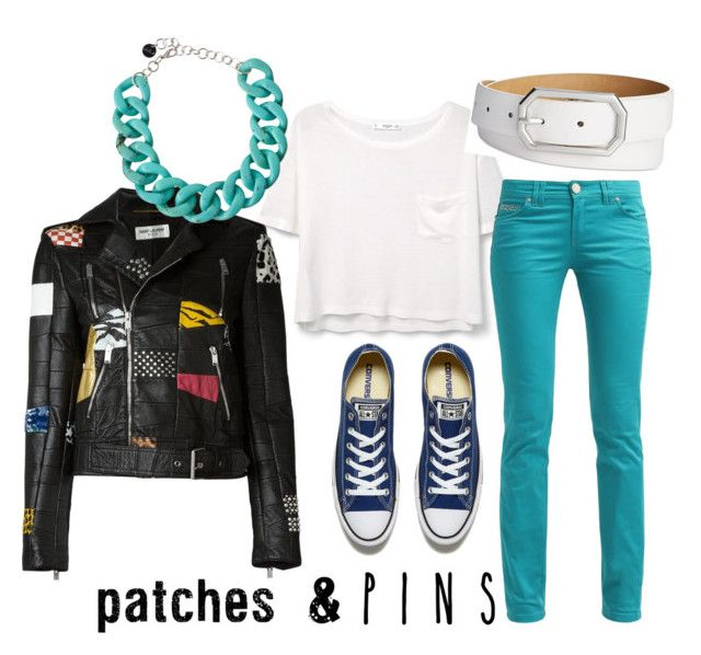 """""""patches casual outfit"""" by missallen00 ❤ liked on Polyvore featuring MANGO, Style & Co., Converse, Yves Saint Laurent, Alisha.D and patchesandpins"""