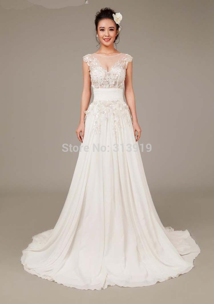 Beach dresses for weddings  free shipping real pictures seethrough chiffon beach style wedding