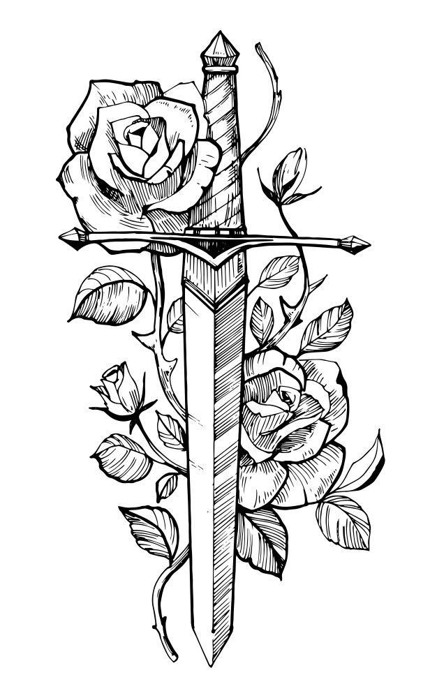 Espada Com Rosas Desenho De Tatuagem Mao Ilustracoes Desenhadas Isolado No Fundo Branco Desenhos Para Tatuagem Tatuagem De Espada Tatuagem Na Mao