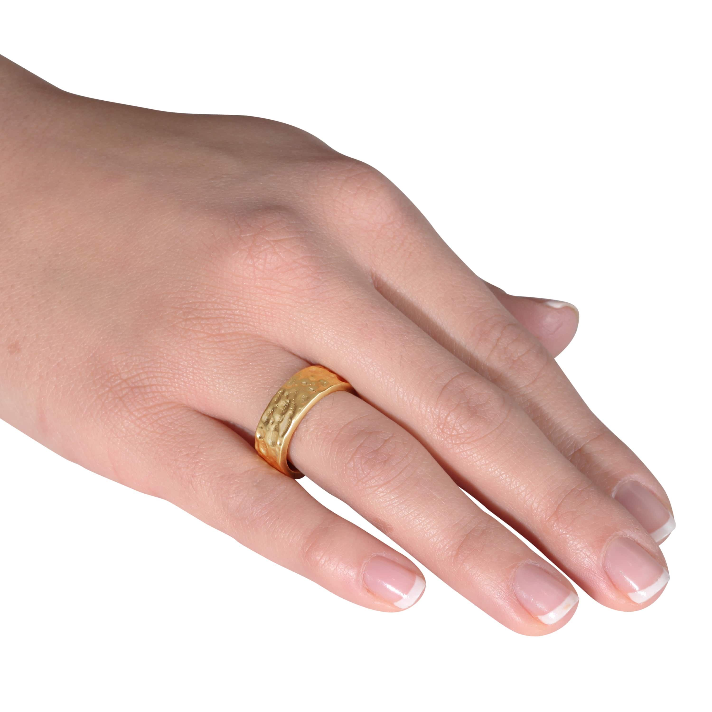 Nexte Jewelry 14k Gold Overlay Hammered Contoured Edge Wedding Band ...