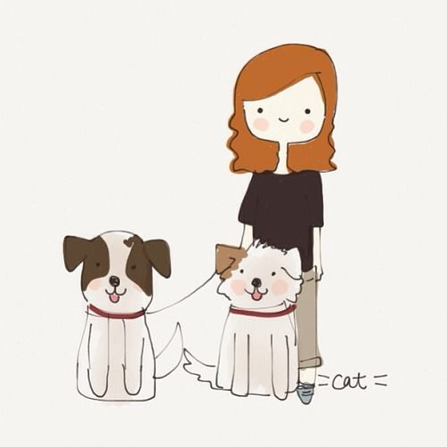 Dear friend with her pups! #catplusmouse #customportraits #illustrations #fashionillustrations #doodle #furbabies