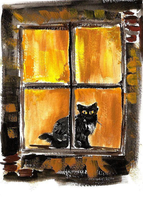 Black cat in the window Art Print of watercolor painting