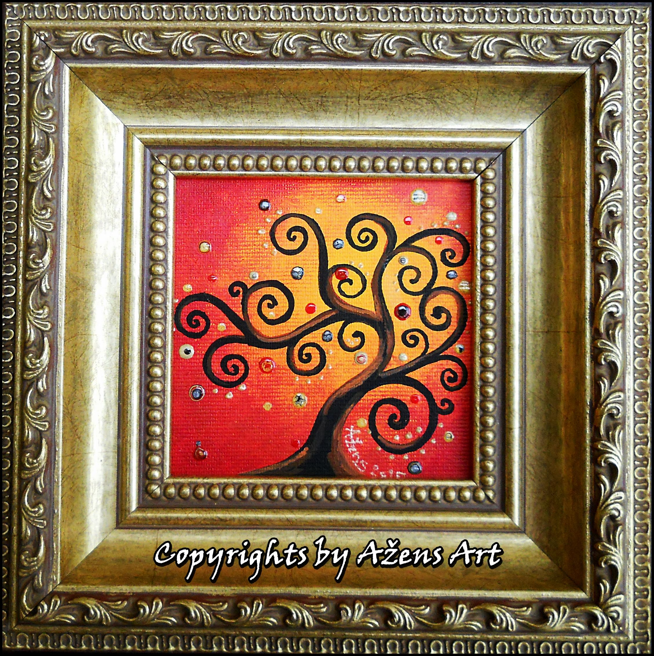 Tree Of Life 13 Mixed Media On Canvas 10 X 10cm Frame 19 5 X 19 5 X 3 7 Cm Mixed Media Canvas Art Frame