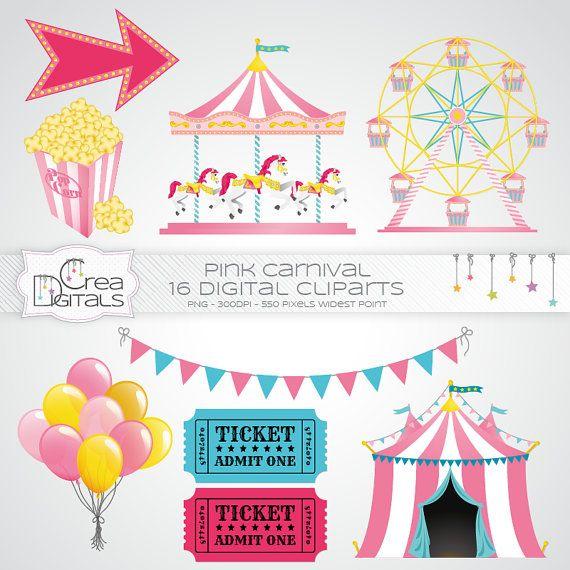 Pink carnival / circus 16 digital cliparts by CreaDigitals