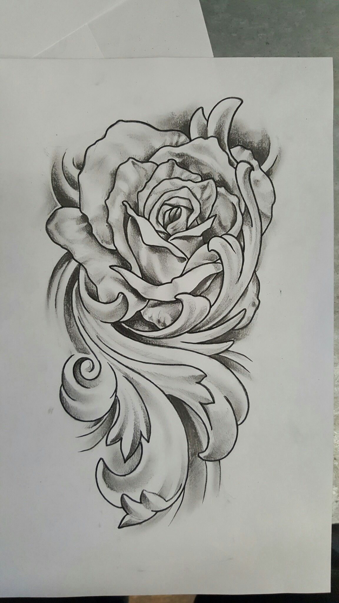 Rose With Flourish Tattoo Design Flourish Tattoo Filigree Tattoo Rose Drawing Tattoo