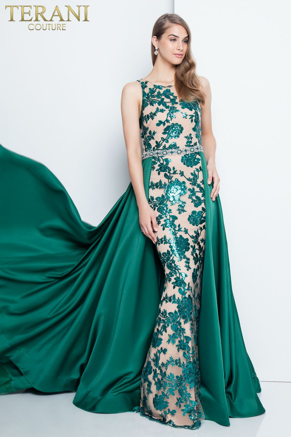 Terani Couture Emerald Green Lace fitted dress with green cape Red ...