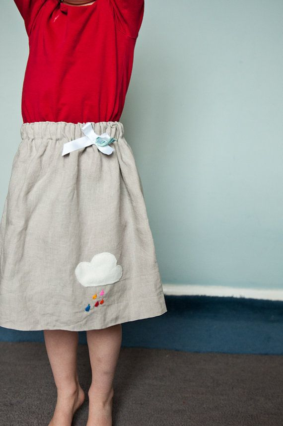 Grey linen skirt spring time fluffy cloud and rainbow by slmecraft, $19.50