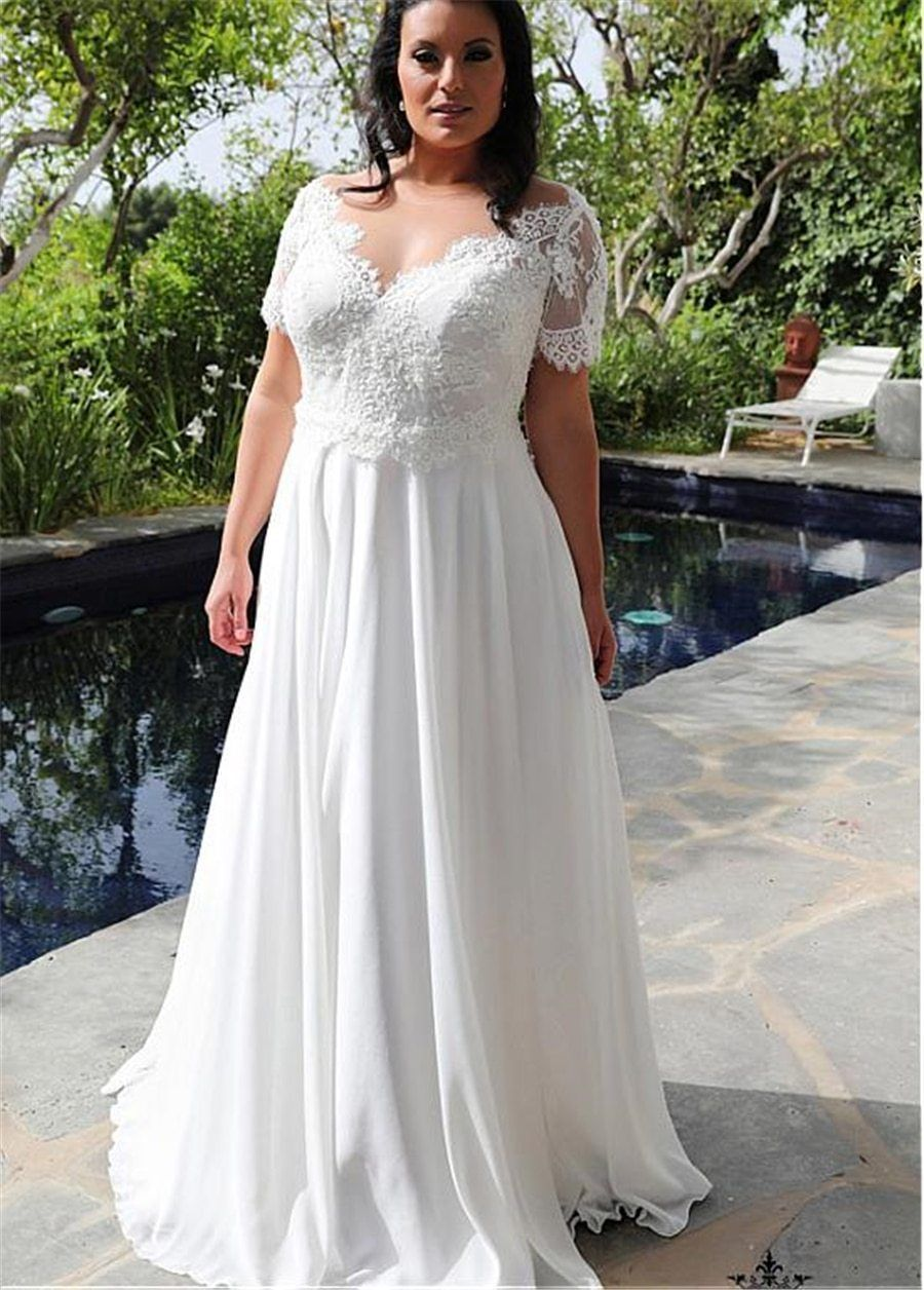 VNeckline Aline Plus Size Wedding Dresses in 2020 (With