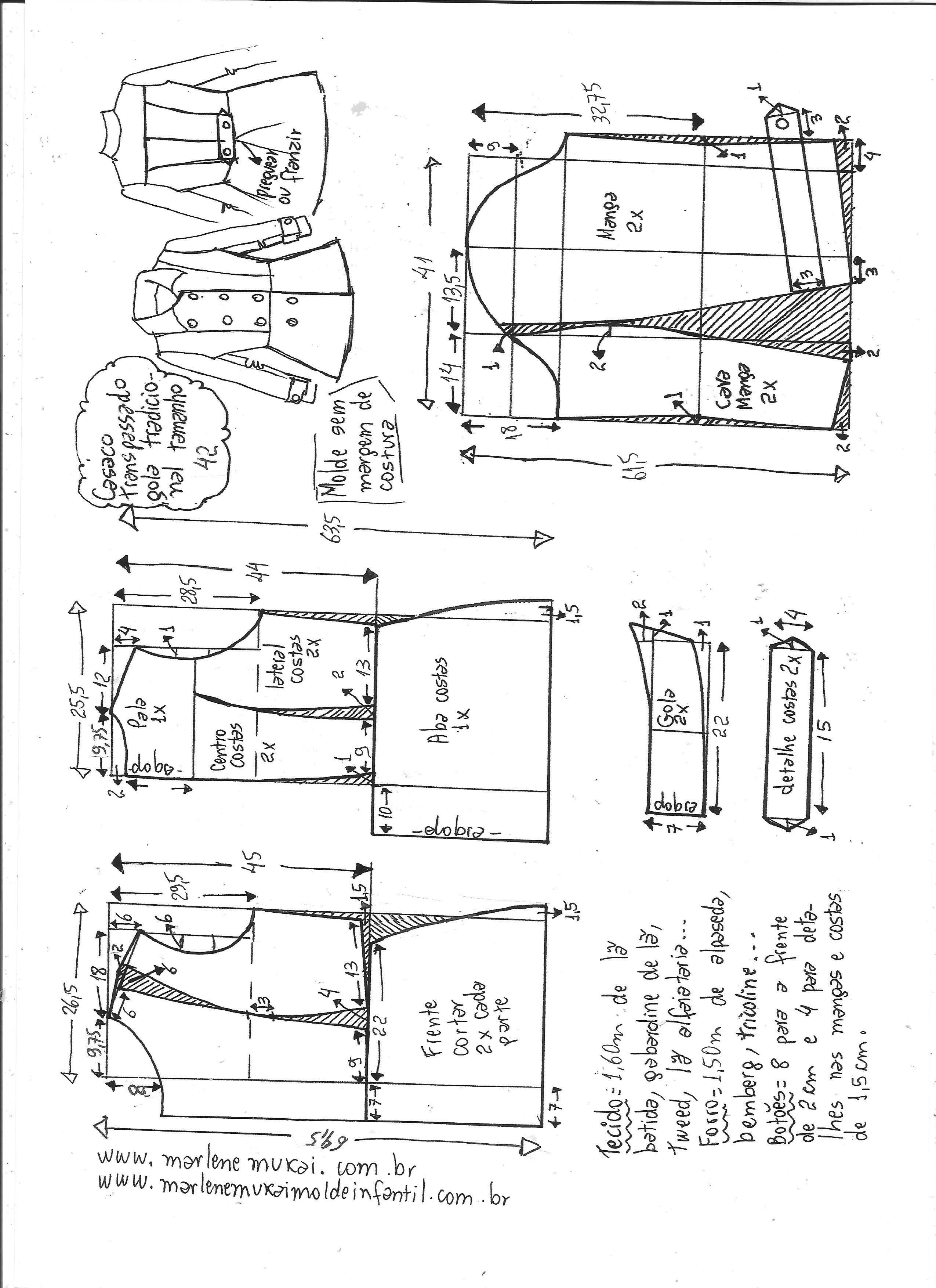 casaco alfaiataria transpassado | Molde, Costura y Manga raglan