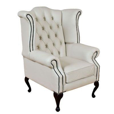 White Chesterfield Queen Anne High Back Wing Chair With Images