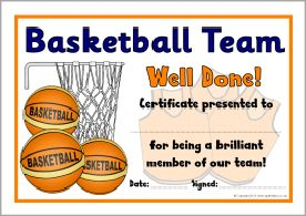 Basketball certificate awards free download yelopaper Gallery
