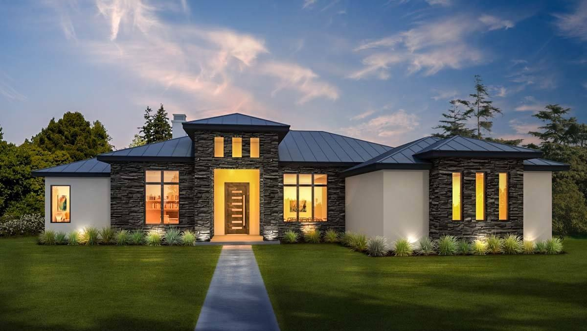 Modern hill country retreat 430009ly architectural designs house plans